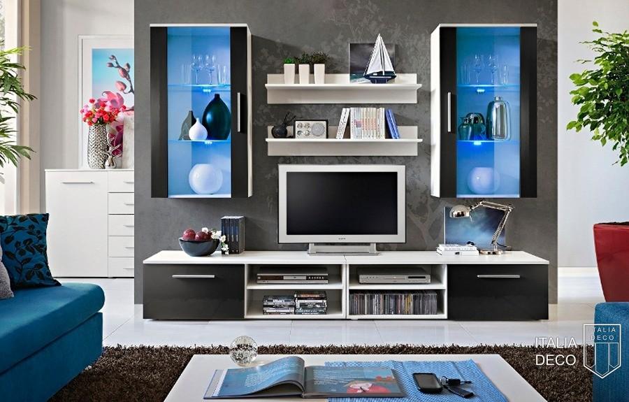 Modulares para tv mueble modular de pared composable for Mueble con soporte para tv