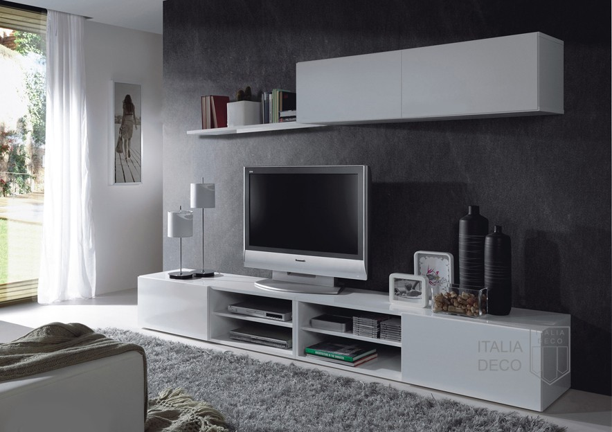 Rack modular moderno para lcd siena italia deco for Muebles organizadores para living
